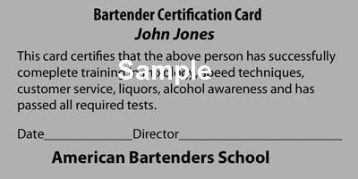American Bartenders School NYC Certification Card